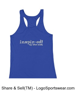 ladies racer back tank royal with silver glitter spells inspir-ed! my life's work Design Zoom